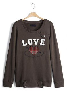 Deep Brown Love Heart Neck Sweatshirt$51.00