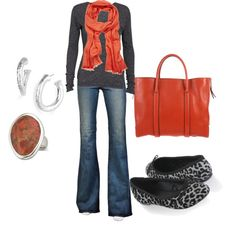 Great casual outfit for fall. Boots would work too!
