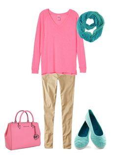 Light spring's look perfect in pink. Not too hot or saturated though. Just a nice medium pink. Think light and bright. This pink is paired with a bright blue-green.  Light khaki is a perfect neutral for a light spring.  Have fun and wear what you love!  Jen Thoden   Download Your Ligh