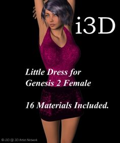 Little Dress for Genesis 2 Female Daz3d - Quads Mess