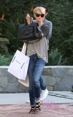 Charlize Theron goes for a comfortable look as she shops at Isabel Marant in Los Angeles.