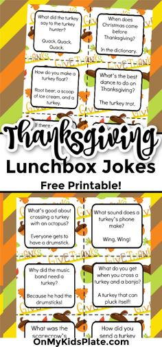Thanksgiving Lunchbox Jokes- (Free Printable Notes) ~ On My Kids Plate Thanksgiving Lunch, Thanksgiving Recipes, Fall Recipes, Jokes For Kids, Kid Jokes, Hilarious Jokes, Funny, Kids Plates, Lunch Box Notes