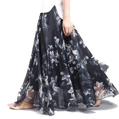 NEW ARRIVAL! New Fashion  Wome....Get it while it's hot! New to the store,http://voguebands.com/products/new-fashion-2016-womens-boho-elegant-florals-print-chiffon-long-skirt-ladies-slim-high-waist-elastic-waist-pleated-skirts-sk15?utm_campaign=social_autopilot&utm_source=pin&utm_medium=pin