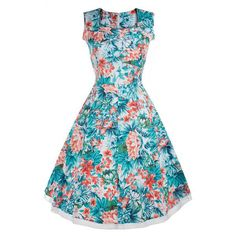 This is a series of scoop sleeveless high-waist pleated knee-length dress. Some of them are made of in solid and few others in print color.