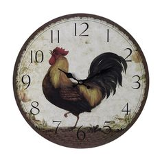 Shop for Yosemite Home Decor Home Decor, and other Accessories at Evans Furniture Galleries in Redding, Chico & Yuba City, CA. Circular wooden wall clock rooster print, mdf back plate and skip movement clock. Bed Bath & Beyond, Rooster Kitchen Decor, Rooster Decor, Rooster Art, Rooster Plates, Kitchen Art, Kitchen Stuff, Kitchen Living, Country Kitchen