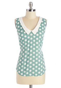 Summer Book Club Top in Mint. Sweet and sophisticated, this polka-dotted top in sea-glass-green reflects your personality - and sets the tone for your first book club meeting with the gals! #green #modcloth