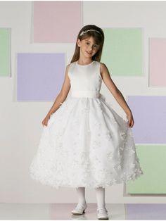 Satin Organza Hand-beaded Jewel Neckline Tie Back Sash Bodice Tea-length Flower Girl Dress