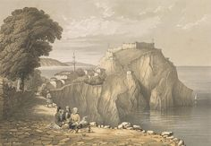 Parga, Albania (subsequently Greece): the castle, part of the town and the sea seen from the coast road. Colour lithograph after G. Wellcome Collection, Albania, Vintage Photos, Monument Valley, Mount Rushmore, Greece, Coast, Island, Mountains