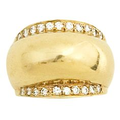 Gold Dome Ring with Diamonds | From a unique collection of vintage dome rings at https://www.1stdibs.com/jewelry/rings/dome-rings/