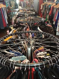 Bike rim clothes rack - hoping to do this for my market stall.