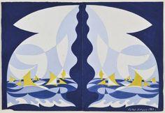 """BALLA GIACOMO Torino 1871 - Roma 1958 Linee forza di mare (motivo per arazzo)[...], mis en vente lors de la vente """"Art Moderne et Contemporain"""" à Fidesarte Italia S.R.L.   Auction.fr"""