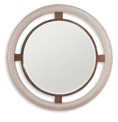 """Wall Mirrors, Luxury 48"""" Round Leather Studded Mirror, so beautiful, one of over 3,000 limited production interior design inspirations inc, furniture, lighting, mirrors, tabletop accents and gift ideas to enjoy repin and share at InStyle Decor Beverly Hills Hollywood Luxury Home Decor enjoy & happy pinning"""