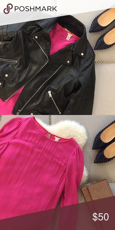 Fuchsia Silk J. Crew Blouse 100% silk blouse from J. Crew. In excellent condition. Dress it up or down, edgy or preppy! Tops Blouses