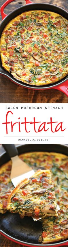 Bacon Mushroom Spinach Frittata - So quick, so easy and so perfect as a quick weeknight dinner or fancy brunch - and you can make it ahead of time too!(Recipes To Try Dinner) Breakfast Desayunos, Breakfast Dishes, Breakfast Recipes, Breakfast Casserole, Avacado Breakfast, Fodmap Breakfast, Breakfast Frittata, Whole 30 Frittata, Italian Breakfast