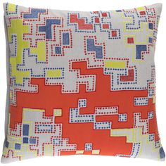 Embroidered cotton pillow with saturated colors for a modern layer to your home's decor Down insert with a removable cotton cover may be dry cleaned