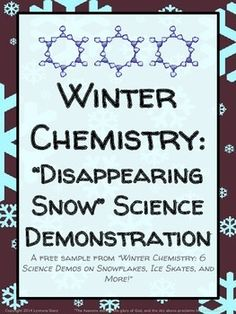 "Snow ""disappears"" before students' eyes to teach the concept of sublimation (phase change from solid to gas).  Winter Chemistry: ""Disappearing Snow"" Science Demonstration - FREE Download"