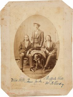 "Photography:Studio Portraits, ""Wild Bill"" Hickok, ""Texas Jack"" Omohundro, and ""Buffalo Bill"" Cody: An Imperial-Size Cabinet Card, Circa 1873,..."