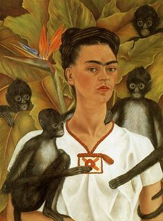 Google Afbeeldingen resultaat voor http://www.reproduction-gallery.com/oil_painting_reproduction_gallery/Frida-Kahlo-Self-Portrait-with-Monkeys-1943-large-1022580989.jpg