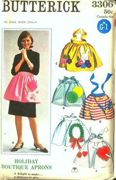 Butterick 3306 Holiday Boutique Aprons: gift & balloon appliques for birthdays, wreath applique for Christmas, rabbit applique for Easter, heart & arrow applique for Valentine's Day, firecracker applique for Fourth of July