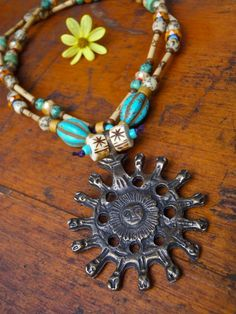 ANCIENT SUN Necklace TRIBAL Hippie Bohemian nomad necklace Long necklace bamboo necklace natural beads
