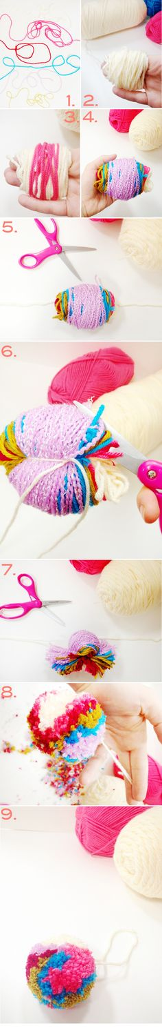 DIY: colorful yarn pom pom ornament