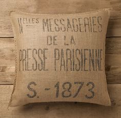 Presse Parisienne Burlap Pillow Cover @Stephanie Lewis.. not sure if you are interested in these.(maybe just one), but they are on sale for $24.95?? just a thought... making them with the initials will still be cheaper :)