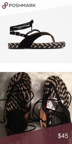 Zara Lace-Up Sandals (8) Euro 39. Zara Shoes Sandals