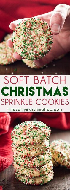Soft Batch Christmas Sprinkle Cookies are a super easy holiday sugar cookie - no rolling the dough required! Packed with red and green sprinkles, perfect for the holidays! These sprinkle sugar cookies are the best, easiest, Christmas cookies around!