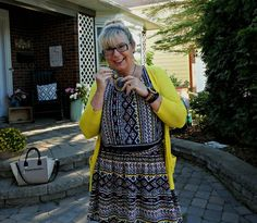 target tribal two piece suit with vibrant yellow shoes and a sylca necklace #fashionover50 #style #40plusstyle