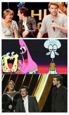 Jennifer Lawrence Josh Hutcherson funny Joshifer-- Spongebob/Patrick & Squidward example... xD so true!!