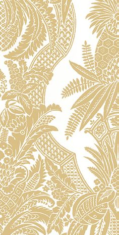 Colony EAST INDIA wallpaper and linen print in Oro available through Scalamandre
