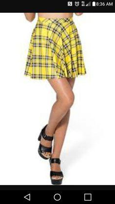 714ab7c1e6 Yellow Plaid Skirt, Plaid Skirts, Mini Skirts, High Ponytails, Brown Shoe,