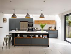 LOVE this kitchen! Tolix Kitchen Contemporary with blue kitchen contemporary grey kitchen family kitchen grey kitchen