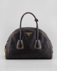 Prada Vintage Vitello Bowler Bag, Black - Neiman Marcus