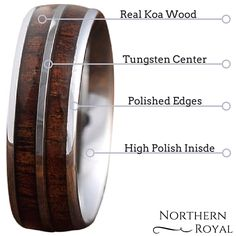 I loves this mens wood wedding ring. It is made out of 100% all natural koa wood from Hawaii. The rest of the beautiful wedding ring is made out of the best quality tungsten carbide.