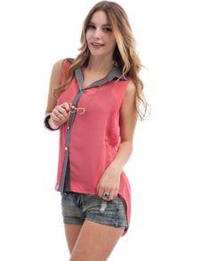 G2 Chic Denim Trim Sheer Shirt