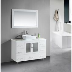 Shop for Design Element Stanton 48-Inch Single Vessel Sink White Vanity. Get free delivery at Overstock.com - Your Online Furniture Outlet Store! Get 5% in rewards with Club O!