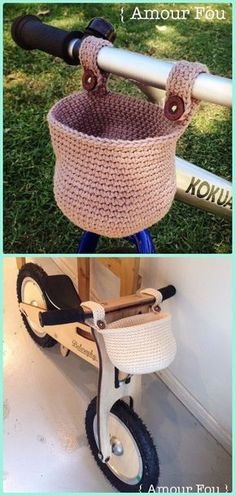 DIY Crochet Bicycle Fashion Patterns Ideas and Instructions Crochet Bike Hanging Basket Free Pattern – Crochet Bicycle Fashion Patterns Informations About Crochet bolsos Pin You. Crochet Velo, Bag Crochet, Crochet Shell Stitch, Crochet Handbags, Crochet Purses, Crochet Gifts, Crochet Yarn, Free Crochet, Crochet Baskets
