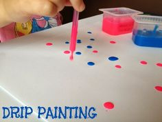 Drip Painting with straws Make colourful water droplets, a little unlike the colourless ones outside! Sit down on those gloomy rainy days and paint all those droplets in different hues using just a straw and lots of excitement. Make pretty patterns and go crazy!