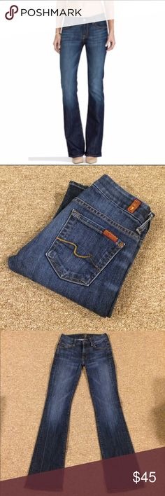 """7 FOR ALL MANKIND: Kimmie bootcut - size 24 7 for all mankind Kimmie bootcut jeans with a 32.5"""" inseam, 7.5"""" rise and 17"""" leg opening.. They measure 13"""" across the top of the waist when laying flat.. 87% cotton, 12% polyester and 1% spandex.. These r in EXCELLENT condition!! 7 for all Mankind Jeans Boot Cut"""