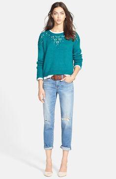 Hinge Pointelle Yoke Sweater, Stem Sweatshirt & Treasure&Bond Denim Boyfriend Jeans  available at #Nordstrom