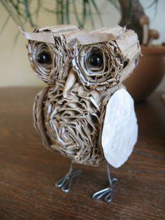 Standing Cardboard Owl Miniature / Nursery by alteredperception