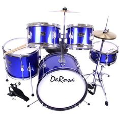 De Rosa by Bridgecraft 5-Piece 16-Inch Kids Drum Set - Metallic Blue by Bridgecraft. $179.99. The Bridgecraft 5-Piece 16-Inch Junior Drum Set is a complete drum set designed for the up and coming drummer! With fully tunable heads, metal hardware and real wood shells, this junior size drum set holds up to your child's playing. The stool, stands and drums are height adjustable for a growing child. Recommended for ages 3 to 10 years olds up to 5 feet tall and make...