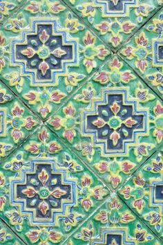 Ancent Ceramic tile decorated with Thai art