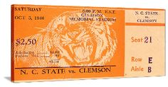 Clemson football gifts! 1946 N.C. State vs. Clemson Football Ticket Art. The best football gifts in the country. #47STRAIGHT