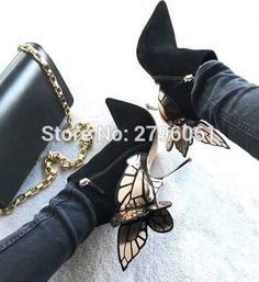 3D Butterfly Angel Wing Ankle Boots High Heels Sequined Pointed Toe Sexy Boots Woman Leather Suede Stiletto Boots Shoes