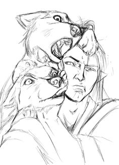"""destinyapostasy:  thetaiwanesedartjob:  This week in doodles I'll never finish: """"yes. yes hello to you too. Yes, I am very happy to see you as-NOT IN THE MOUTH"""" -Fen'harel recites the ancient mantra of canine owners.  Spit out my drink at the moon moon tags, thx"""