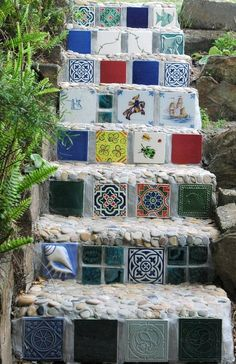 colorful, tiled steps in the garden
