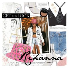 """""""Get The Look: Rihanna"""" by noviii ❤ liked on Polyvore featuring Raf Simons, One Teaspoon, Jane Iredale, Free People, Sinclair, Christian Dior, Lynn Ban, Bobbi Brown Cosmetics, Charlotte Russe and GetTheLook"""