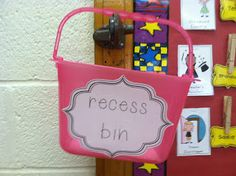 Recess bin for the playground - Put wipes, antibacterial, gloves, bandaids, nurse passes, and a class list.  Make it a classroom job to take out and bring in.  :)
